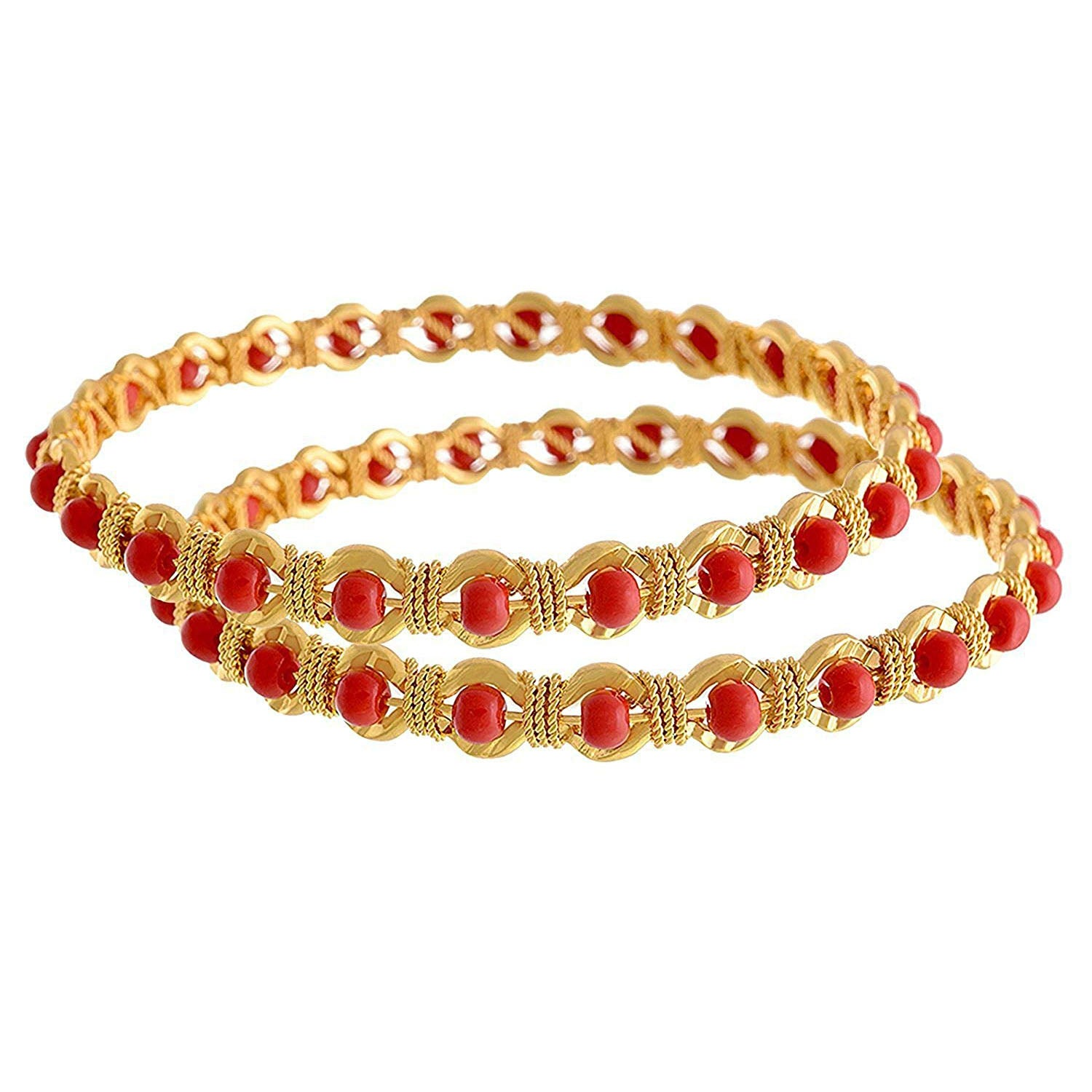 Traditional Ethnic One Gram Gold Plated Red Coral Designer Bangle Set for Women & Girls