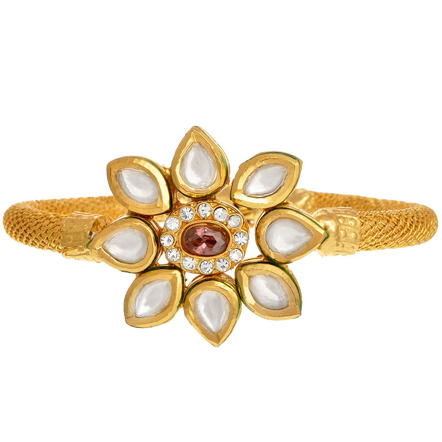 JFL - Traditional Ethnic One Gram Gold Plated Austrian Diamond with Kundan Designer Openable Kada for Womens & Girls.