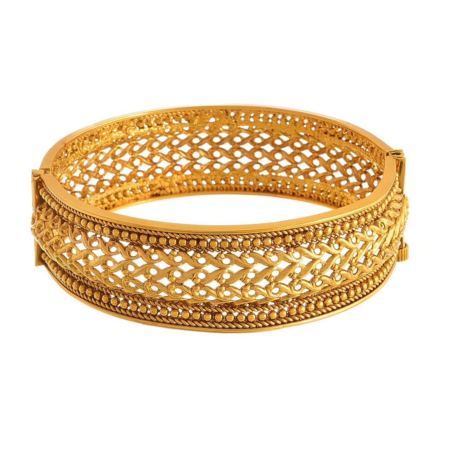 JFL -Jewellery For Less Traditional Ethnic One Gram Gold Plated Designer Openable Kada Bangle For Women.