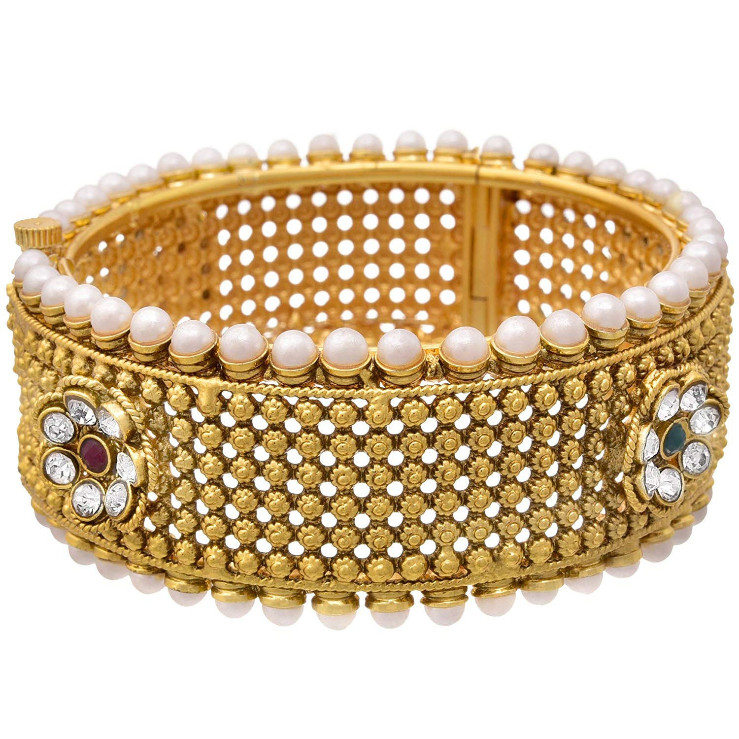 JFL-One Gram Gold Plated Broad Openable Kada Studded With Pearls, Austrian Diamonds And Red Green Stones For Women & Girls