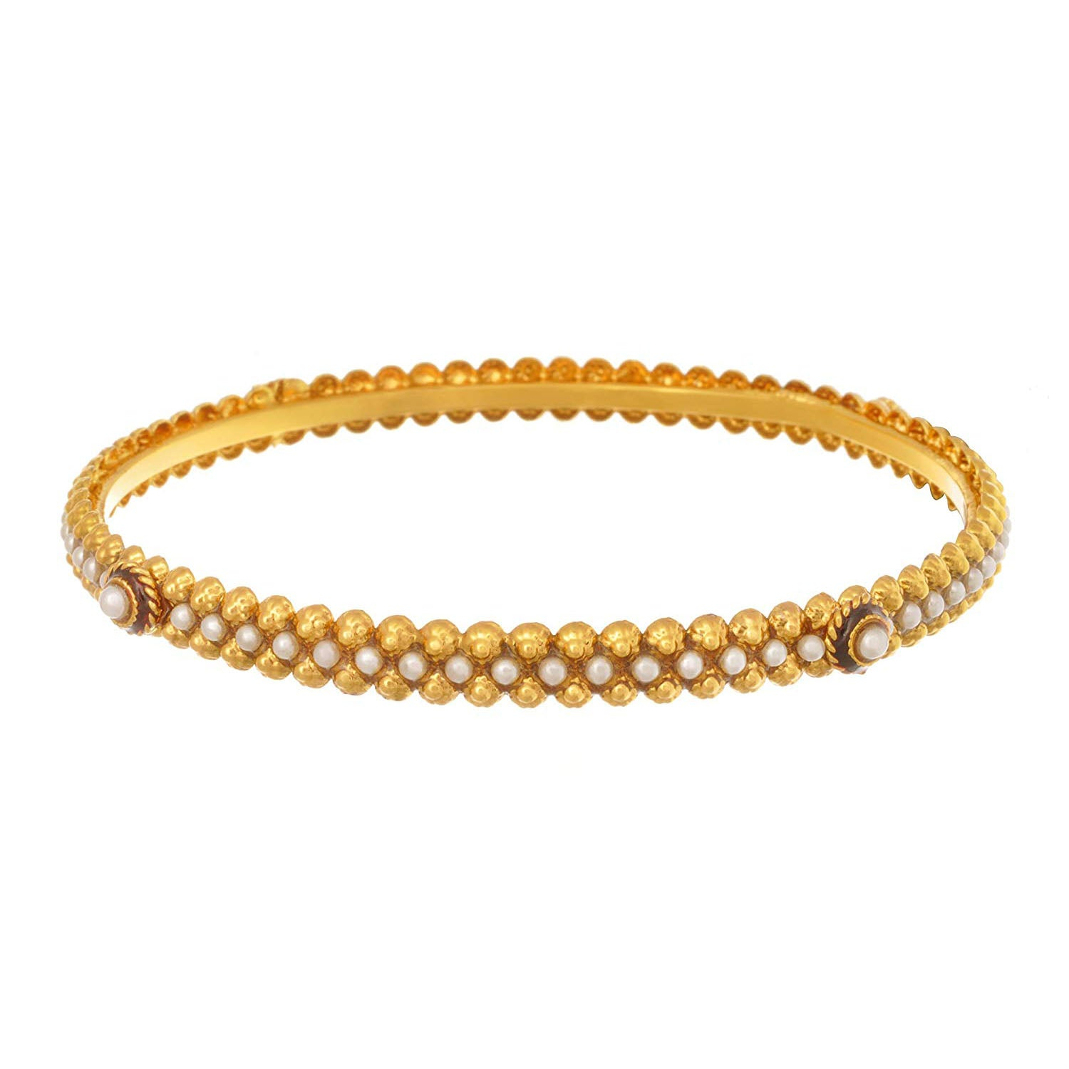 JFL - Traditional Ethnic One Gram Gold Plated Pearl Designer Openable Bangle for Girls & Women