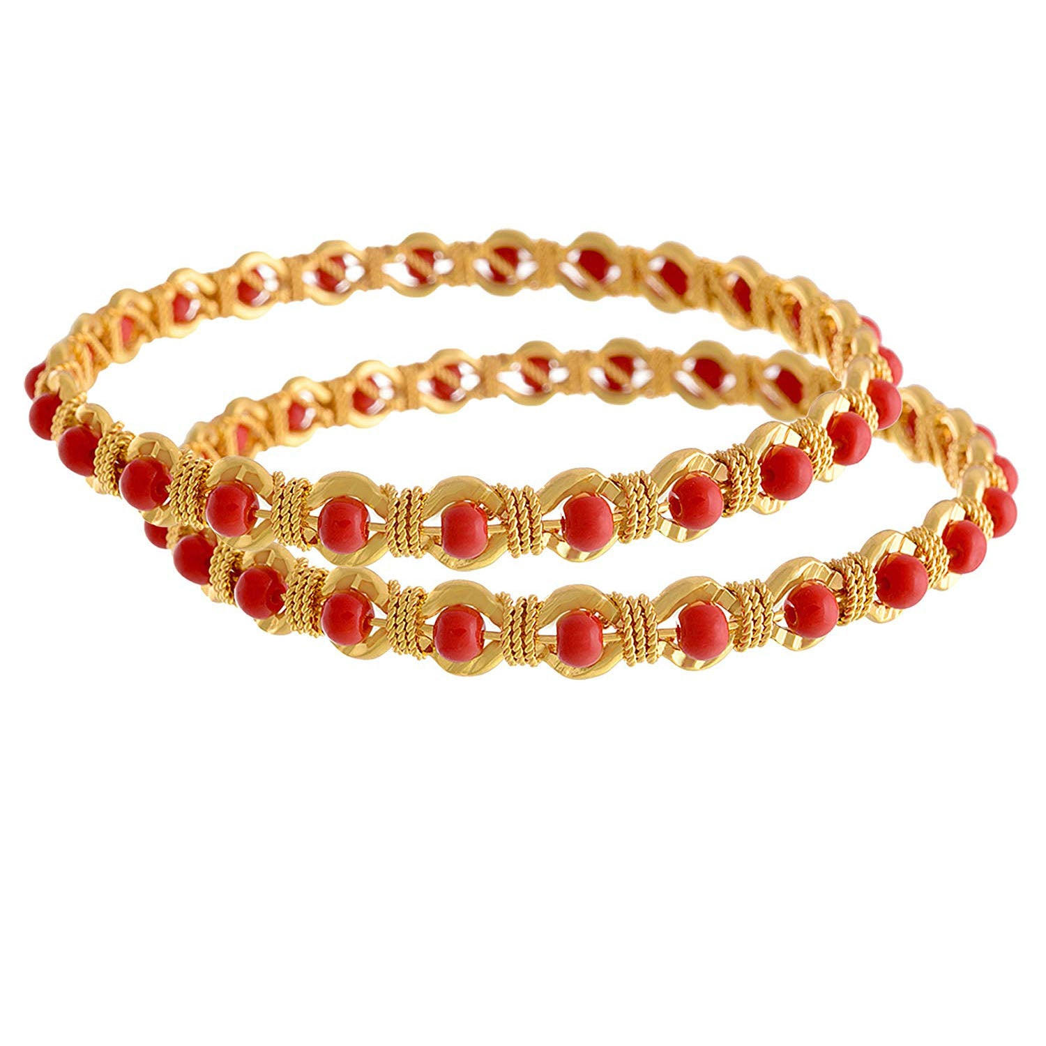 Jewellery For Less Red Gold-Plated Bangle Set For Women