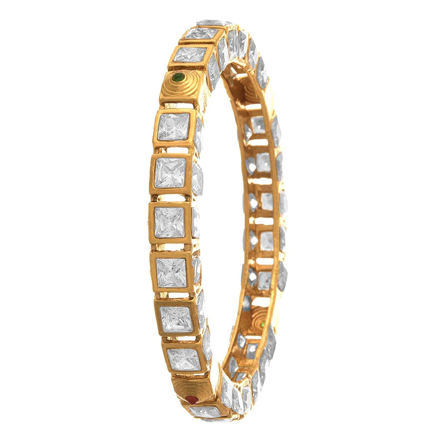 Traditional Ethnic One Gram Gold Plated LCD Diamond Designer Bangle Set for Women & Girls.