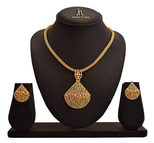JFL - Jewellery for Less Real Gold Filigree Work Jali Design One Gram Gold Plated Pendant Set for Women, Girls.