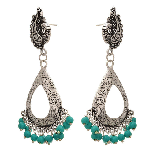 Traditional Ethnic Handmade German Silver Plated Oxidised Peacock Designer Earring For Women & Girls.