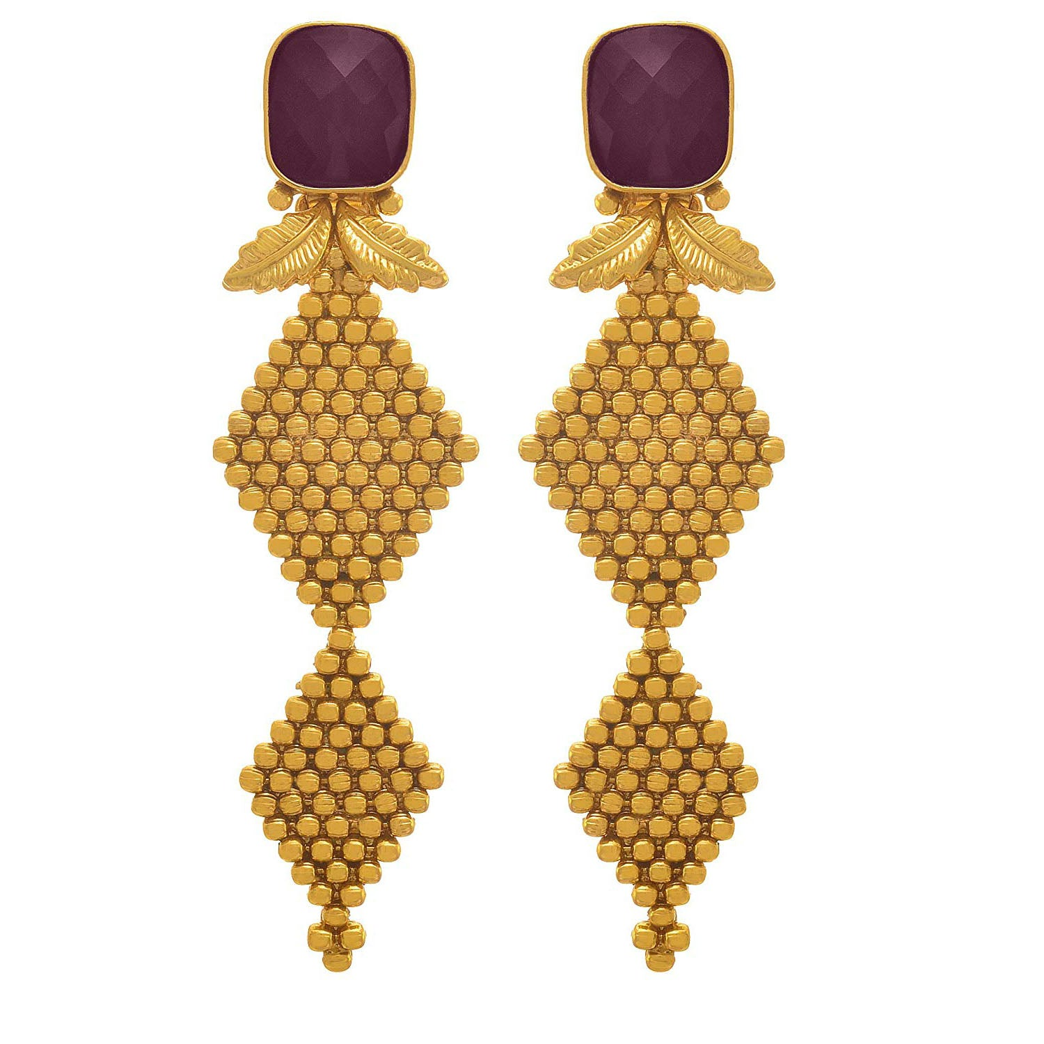 JFL - Traditional Ethnic One Gram Gold Plated Designer Earring for Girls and Women.