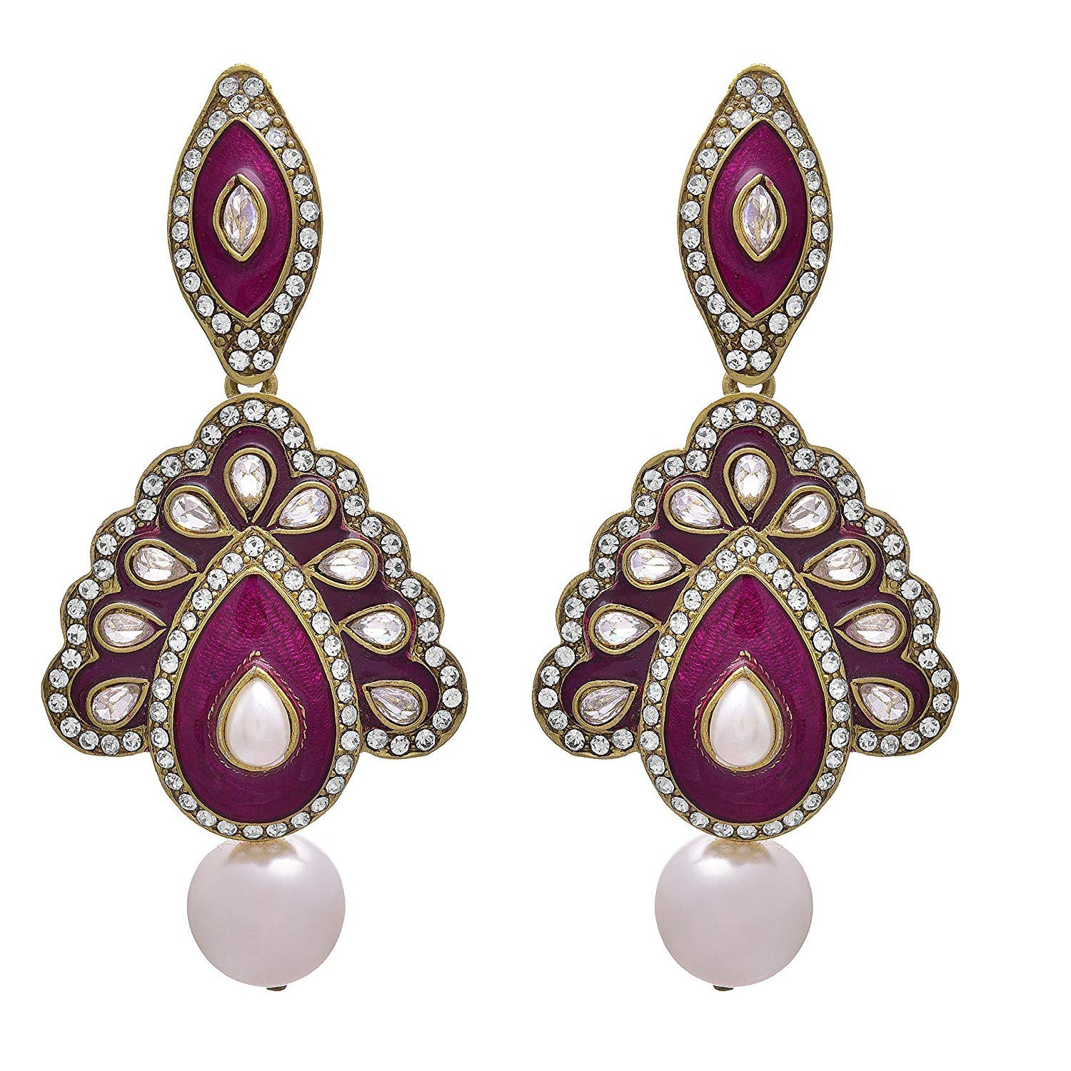 JFL- Traditional Ethnic & Fusion One Gram Gold Plated Austrian Polki diamond Pearl & Burgundy Meenakari Designer Earring for Women & Girls.