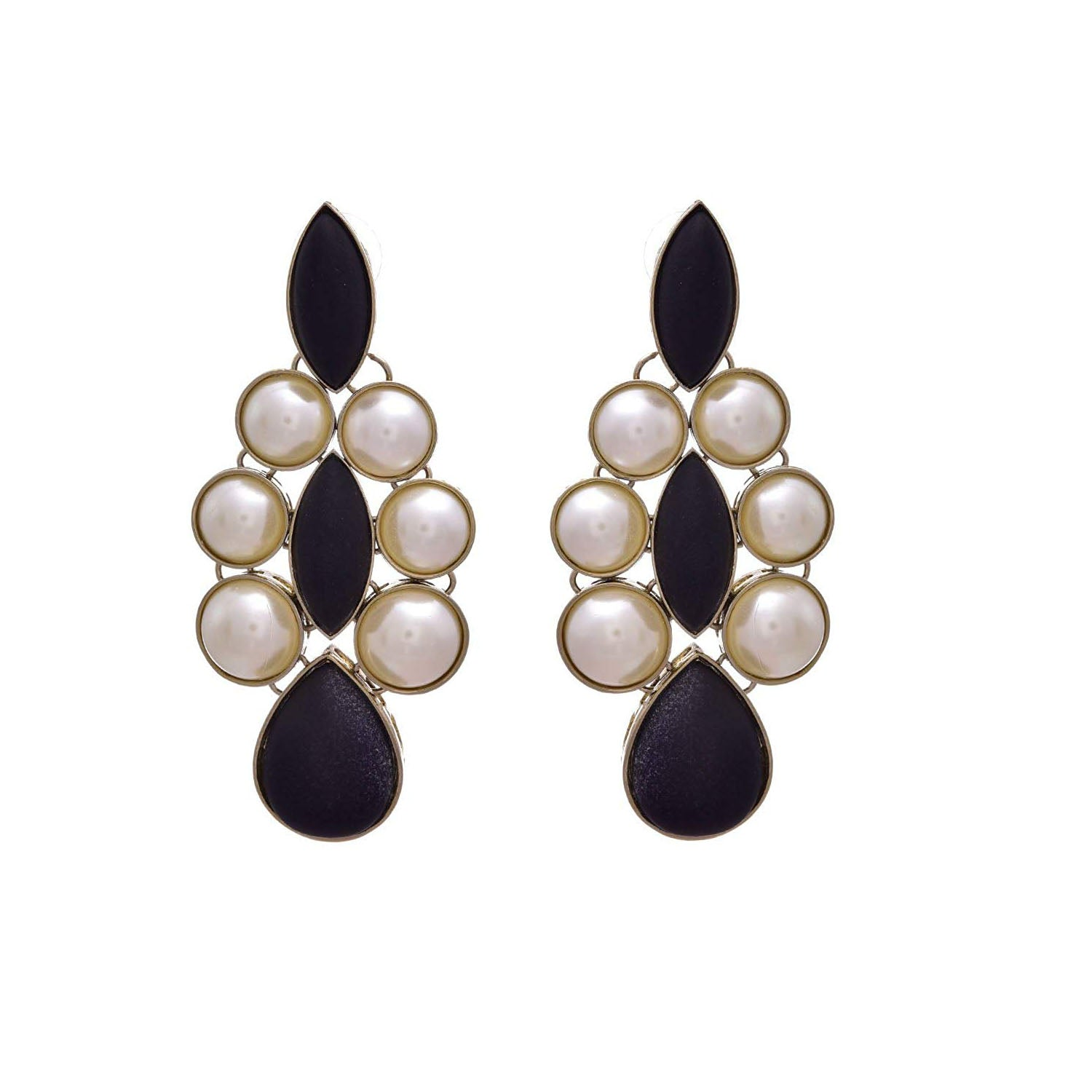 JFL - Bold & Beautiful Designer Black Gold Plated Pearl Earring for Women