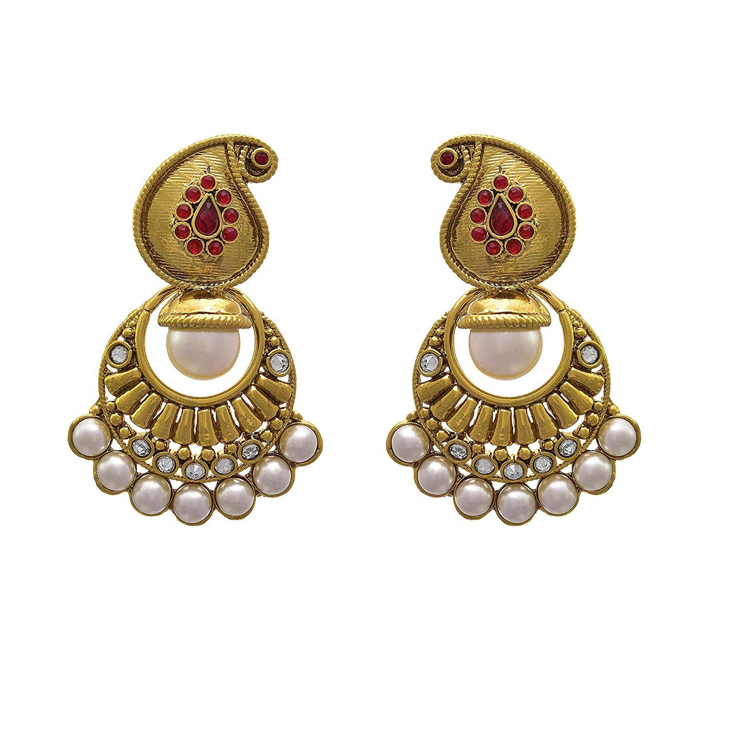 JFL - Traditional Ethnic One Gram Gold Plated Polki Diamonds Pearls Designer Earring for Women & Girls.
