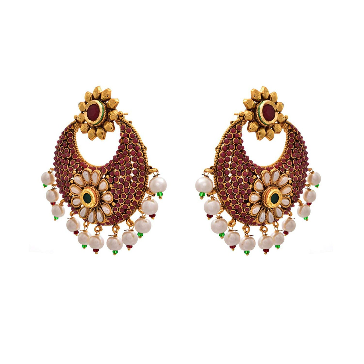 JFL - Traditional Ethnic One Gram Gold Plated Red Green Stone Pearls Designer Earring for Girls & Women