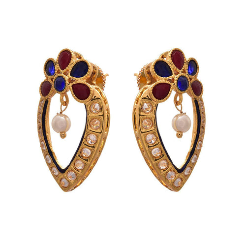 JFL - Traditional Ethnic One Gram Gold Plated Red & Blue Stones, Polki, Pearls Earring for Girl & Women