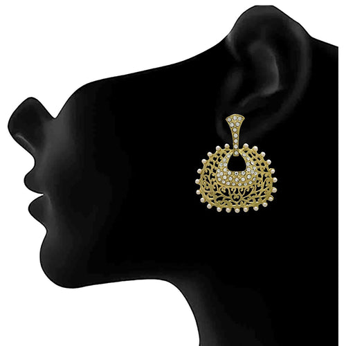 JFL - Jewellery for Less Traditional Ethnic One Gram Gold Plated Meenakari Diamond Pearl Earring For Women & Girls.