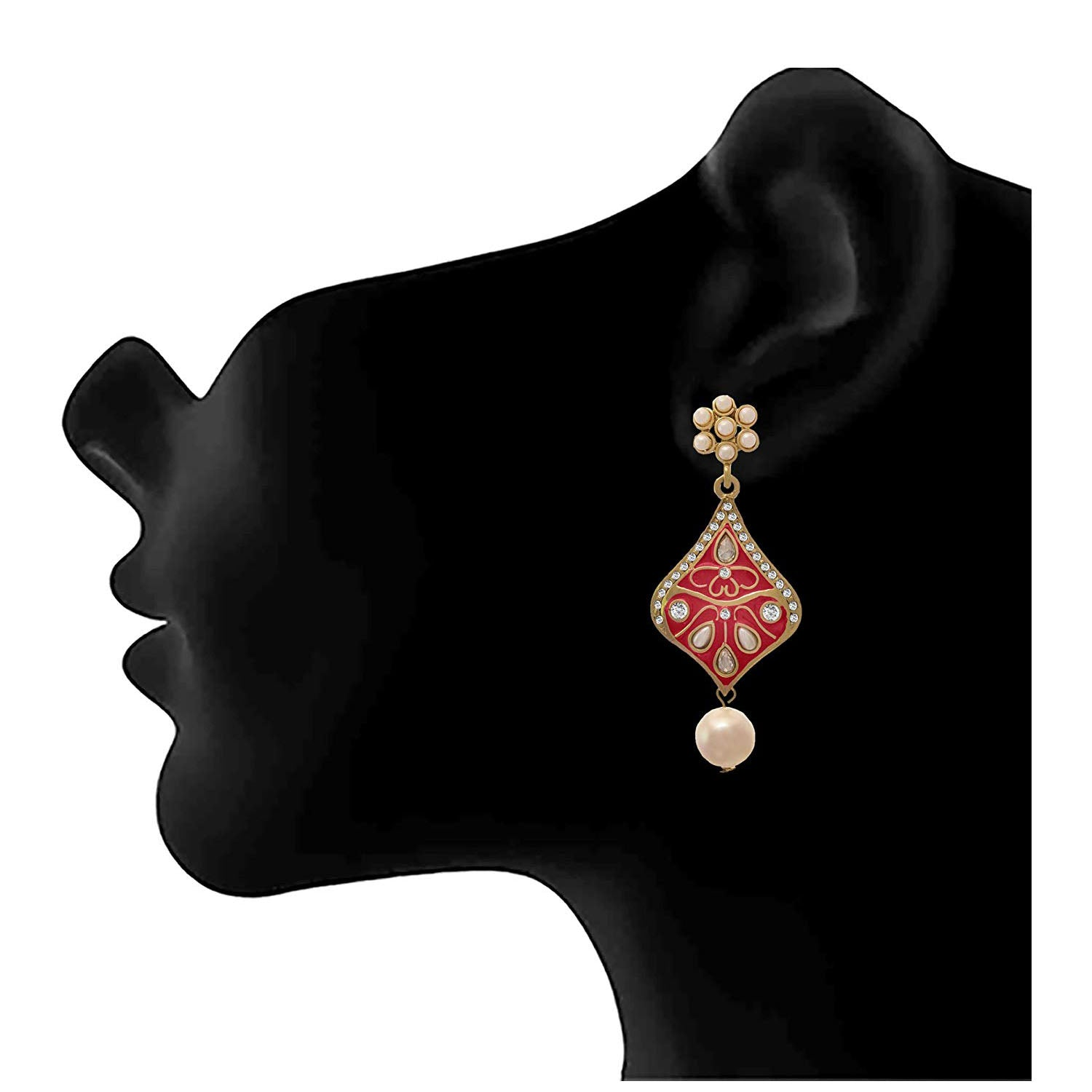 JFL - Traditional Ethnic One gram Gold Plated Diamond & Pearl With Meenakari Designer Earring for Girl & Women