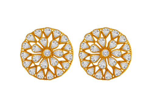 JFL - Jewellery for Less Traditional Ethnic One Gram Gold Plated Cz American Diamond Polki Big Round Stud Earrings for Women and Girls - Party, Casual Wear.