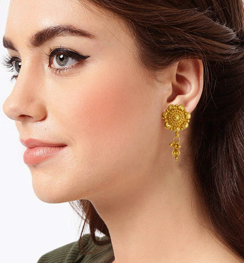 JFL - Jewellery for Less Gold Plated Traditional and Ethnic Floral Stud Drop Earrings with Dangler for Girls and Women |Office and Casual Wear