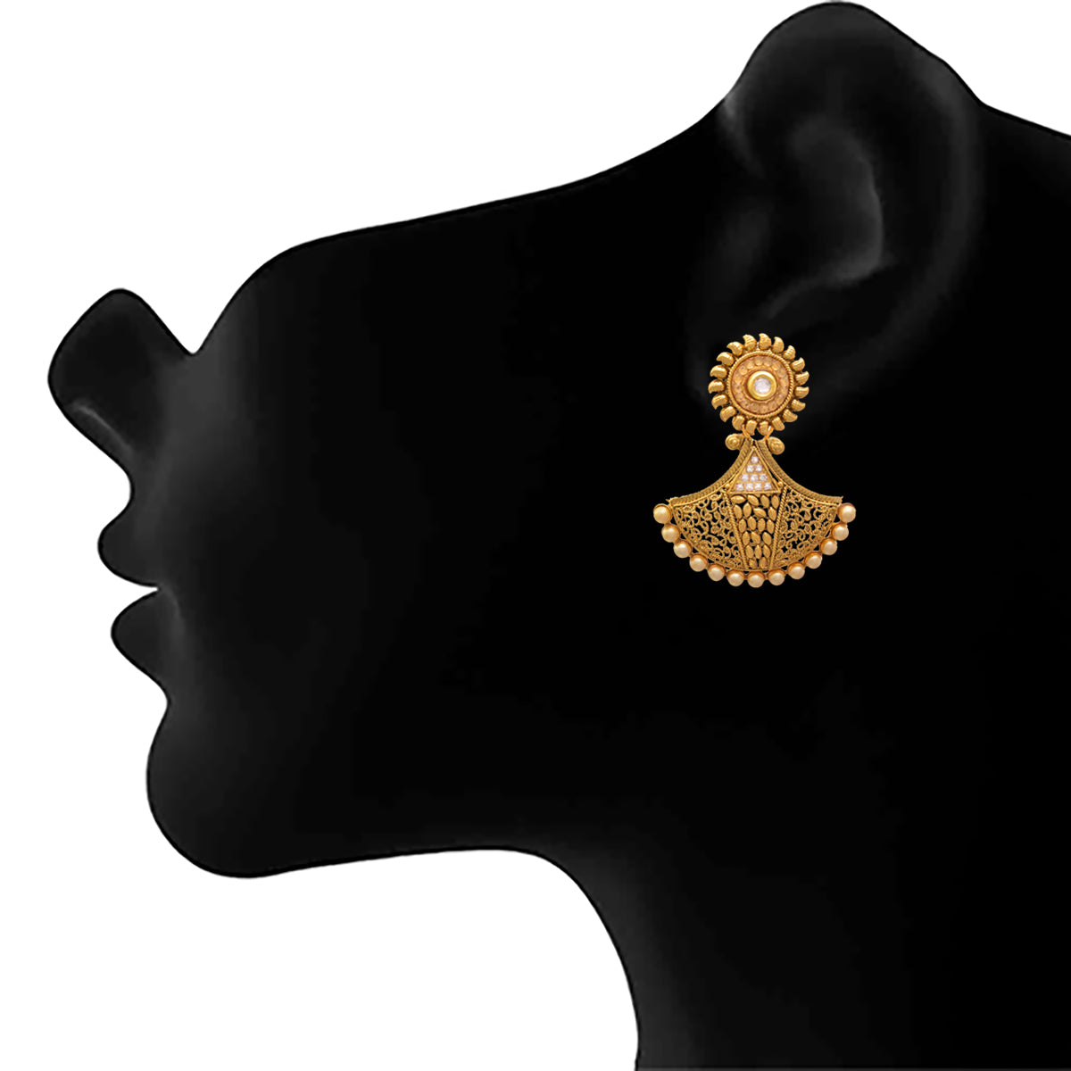 JFL - Traditional and Ethnic Kundan Pearl Cz American Diamond One Gram Gold Plated Designer Earring for Women & Girls
