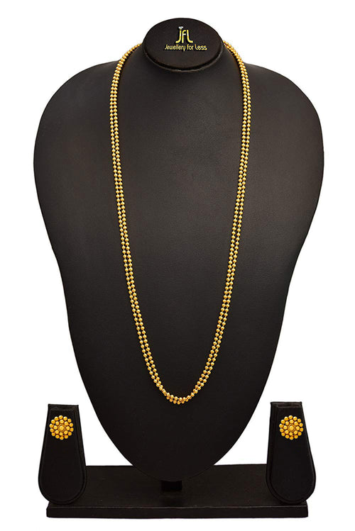JFL - Traditional Ethnic One Gram Two Layer Gold Plated Beaded Chain Long Necklace Set with Earring for Women and Girls.