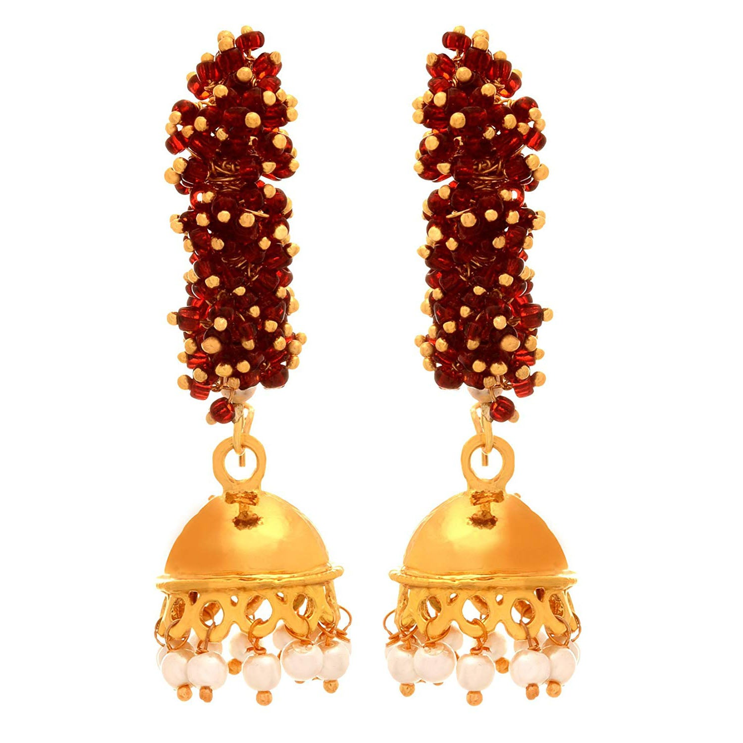 JFL - Traditional Ethnic Indo Western One Gram Gold Plated Delicate Bead Designer Jhumki Bali Earring with Pearls for Girls & Women.