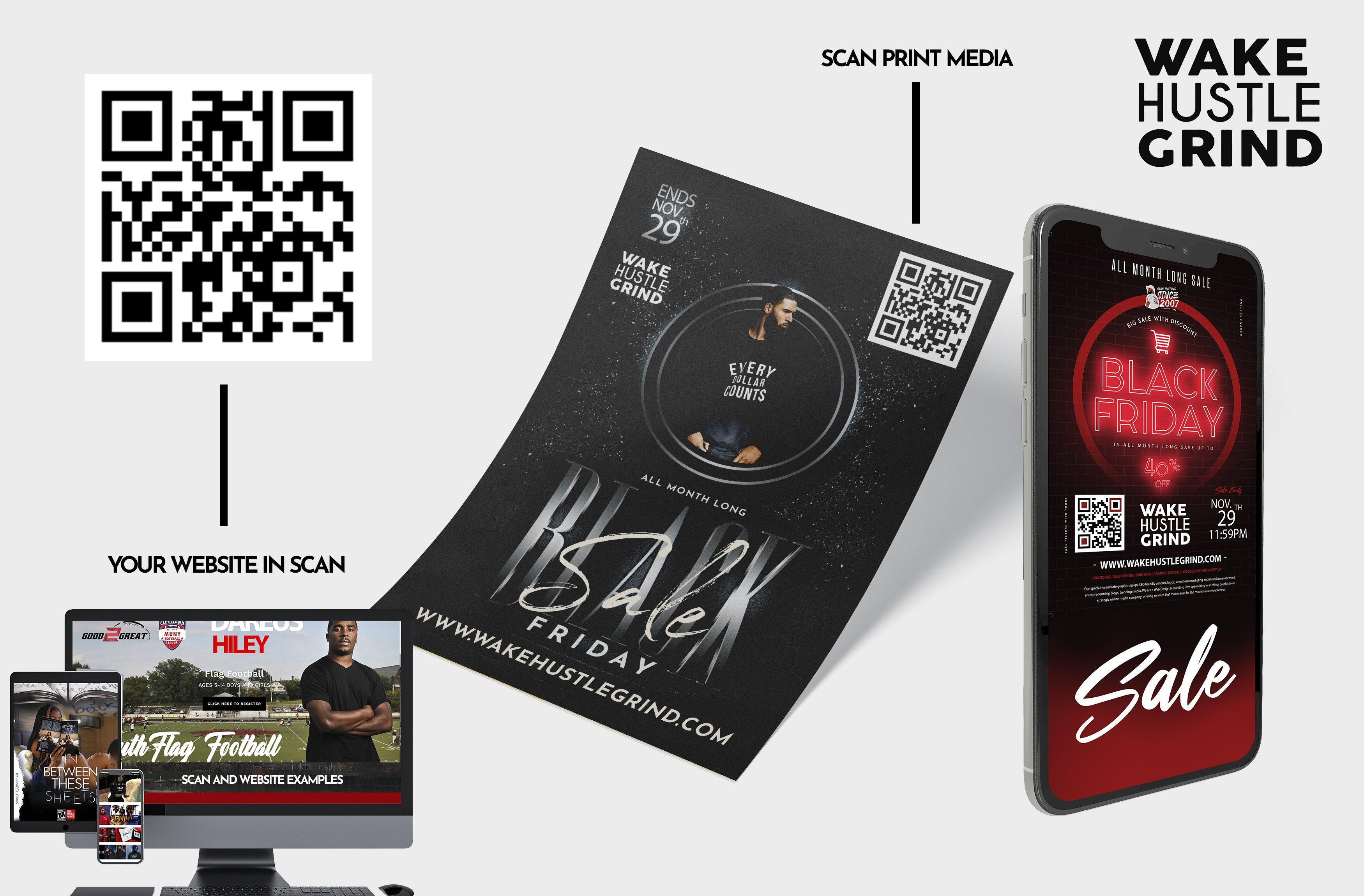 Scan Card Flyers + 1 Page Website - WHGHOLLYWOOD