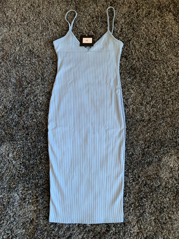 Knit Plunge Bodycon Dress (Powder Blue)