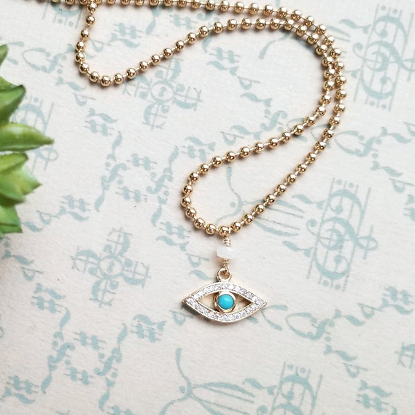 Turquoise Cubic Zirconia Evil Eye Necklace