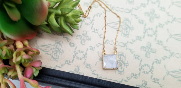 Moonstone Pendant Satellite Chain Necklace