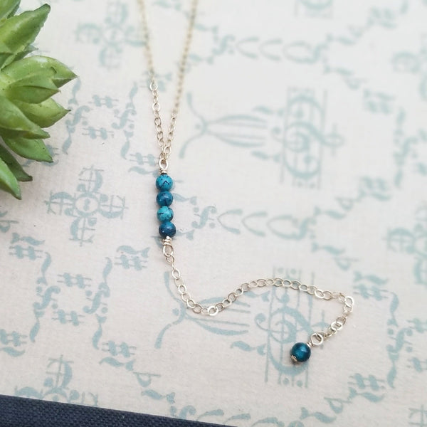 Turquoise and Gold Chain Lariat
