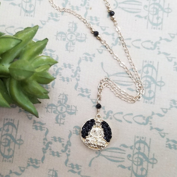 Cubic Zirconia Buddha Pendant and Black Spinel Necklace