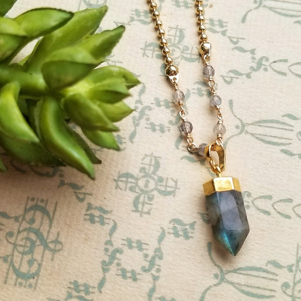 Flashy Labradorite Point and Ball Chain Necklace