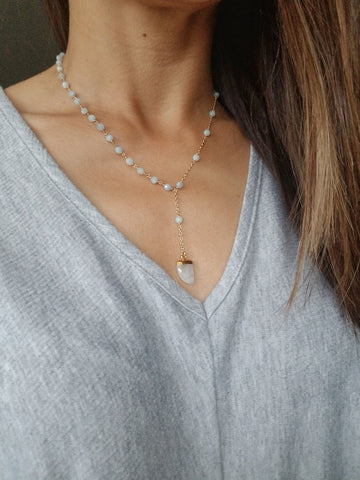 Aquamarine Bead and Moonstone Lariat