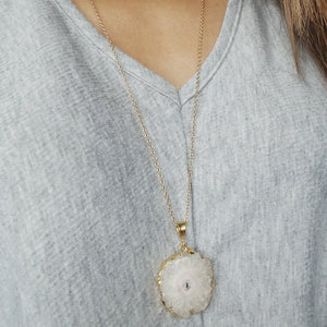 Solar Druzy Pendant Necklace