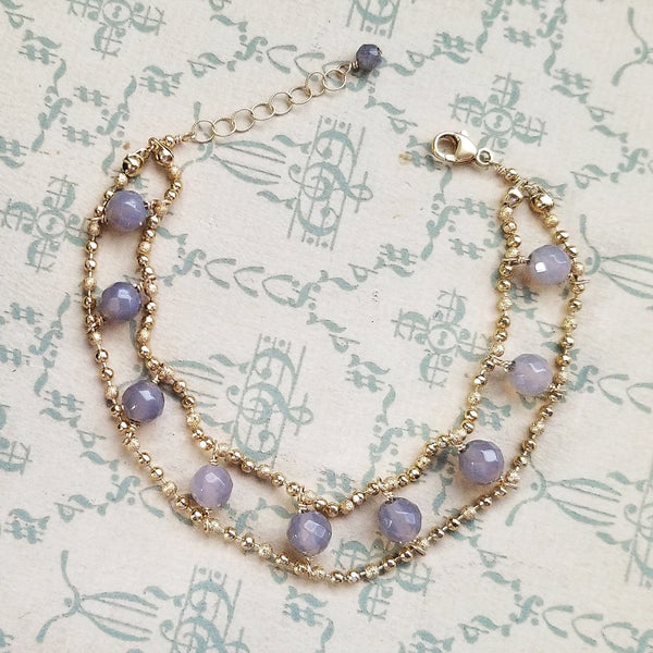Double Layer Grey Agate and Ball Chain Bracelet