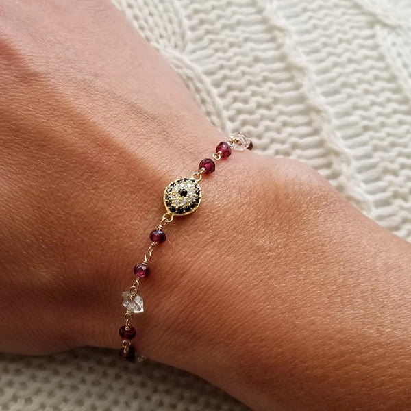 Cubic Zirconia Evil Eye Garnet and Herkimer Diamond Bead Bracelet