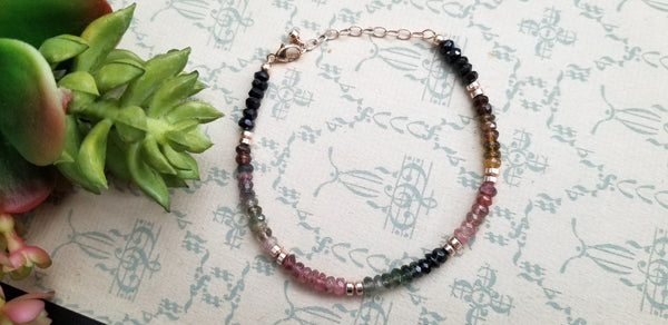 Multicolored Tourmaline and Rose Gold Bracelet