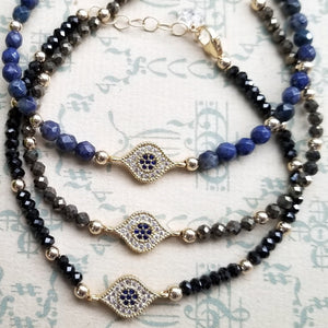 Natural Stone and Cubic Zirconia Evil Eye Bracelets