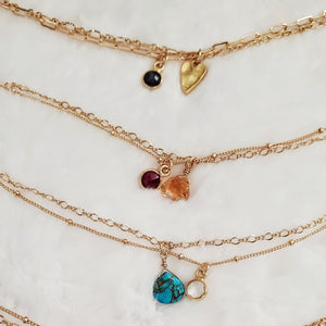 Double Chain Gemstone Charm Bracelets
