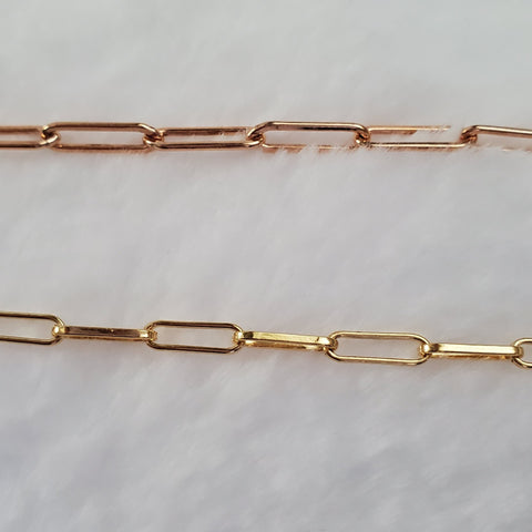 Rose and Yellow Gold Elongated Chain Bracelets