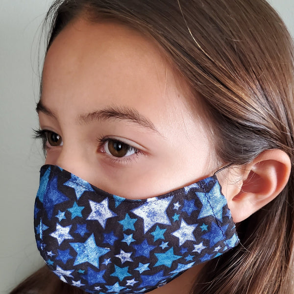 Kids Reusable Cotton Face Mask with Filter Pocket and Optional Nose Wire