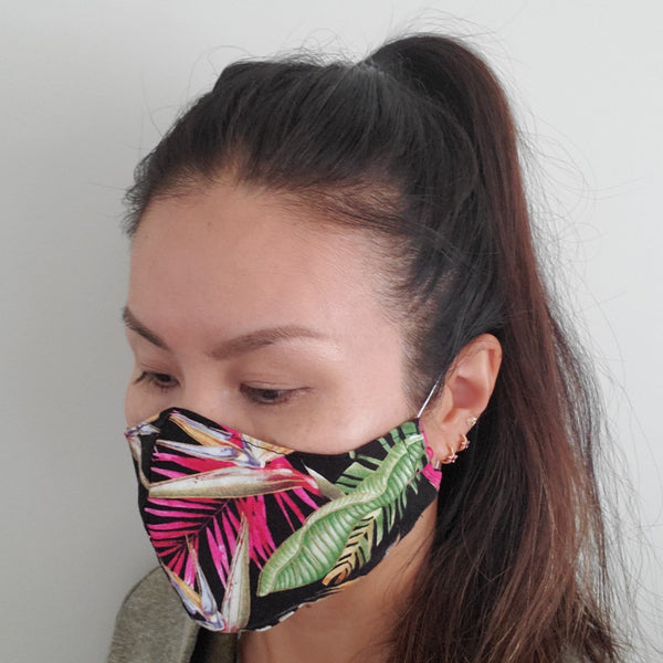Reusable Cotton Face Mask with Filter Pocket and Optional Nose Wire