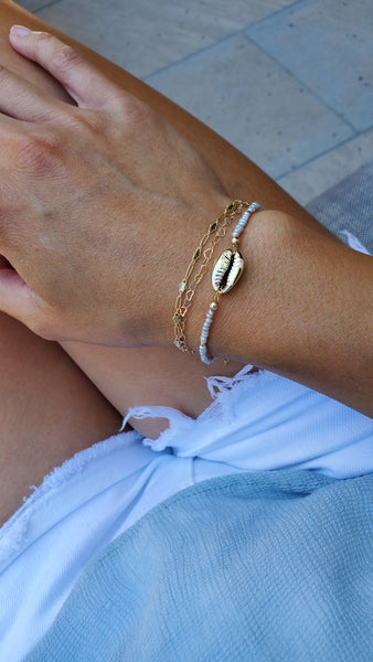 Gold Cowrie and Pearl Bracelet