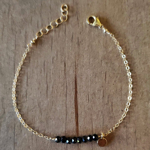 Black Spinel Bar Bracelet
