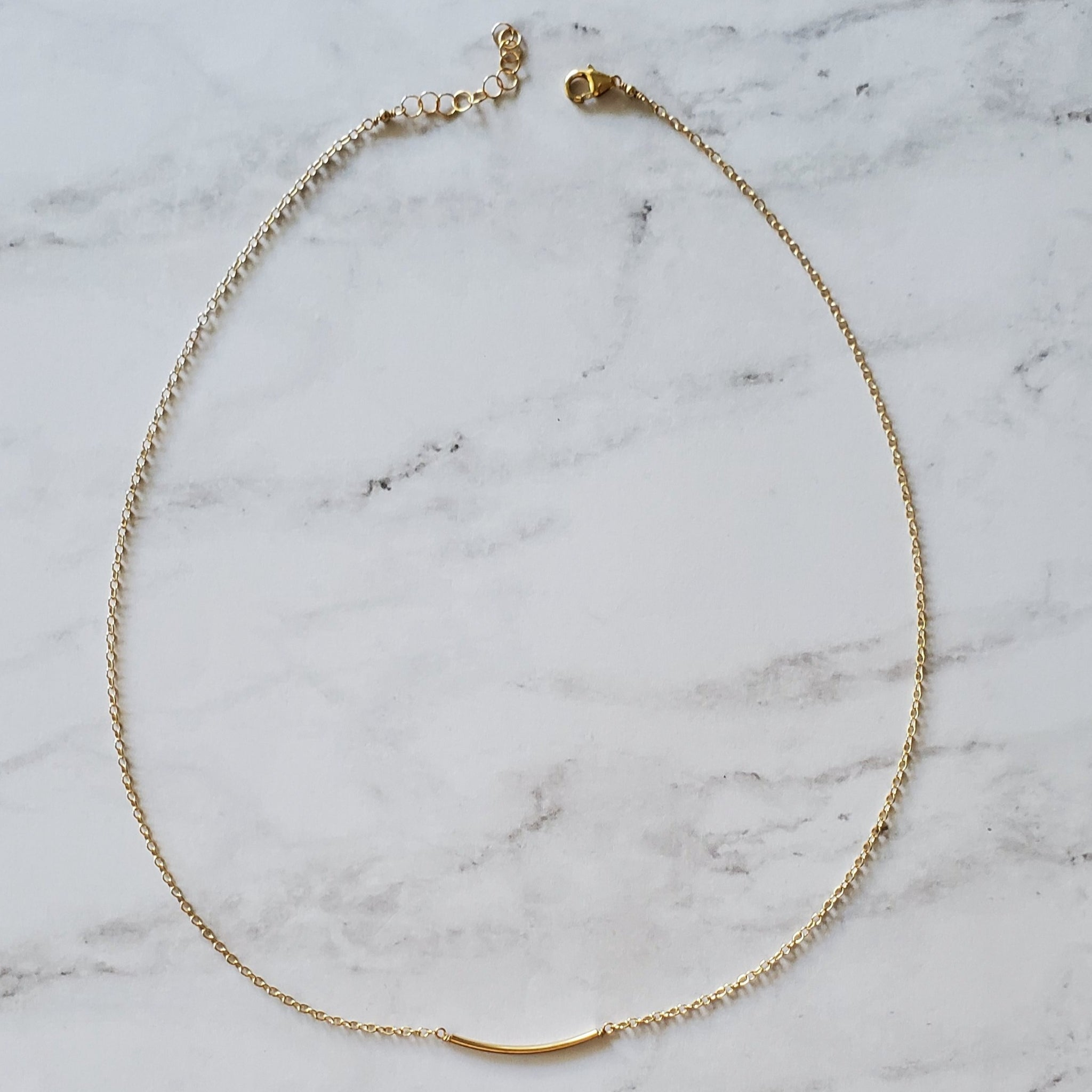 Gold Tube Layering Necklace