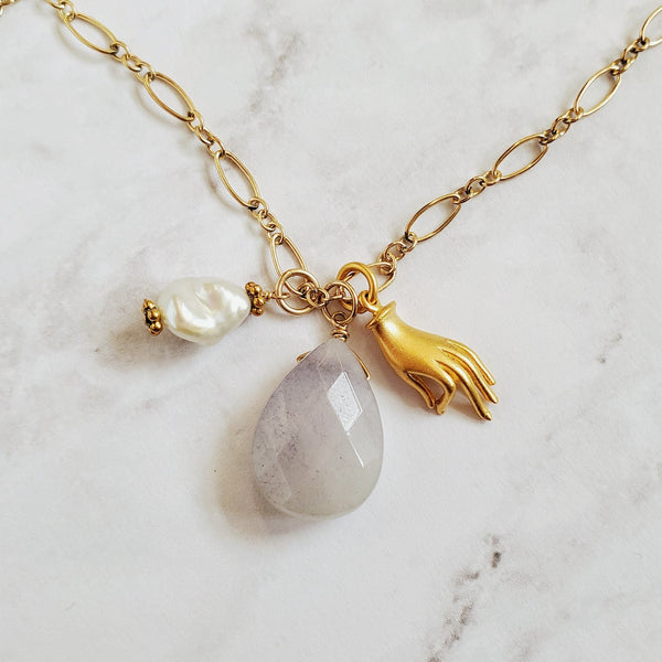 Hamsa Amethyst and Pearl Charm Necklace