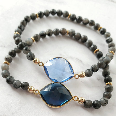 Gemstone and Black Labradorite Stretch Bracelets