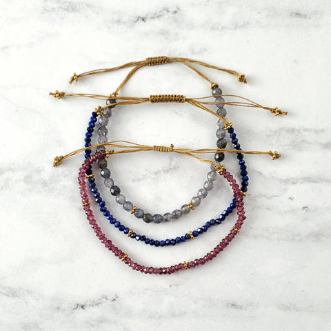 Gemstone and Gold Cord Bracelet