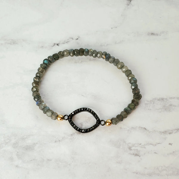 CZ and Labradorite Stretch Bracelet