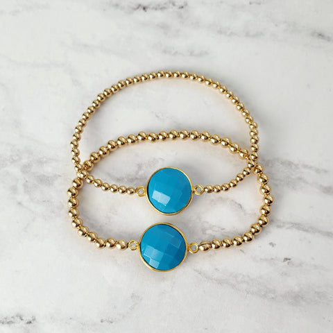 Turquoise Gold Bead Stretch Bracelets