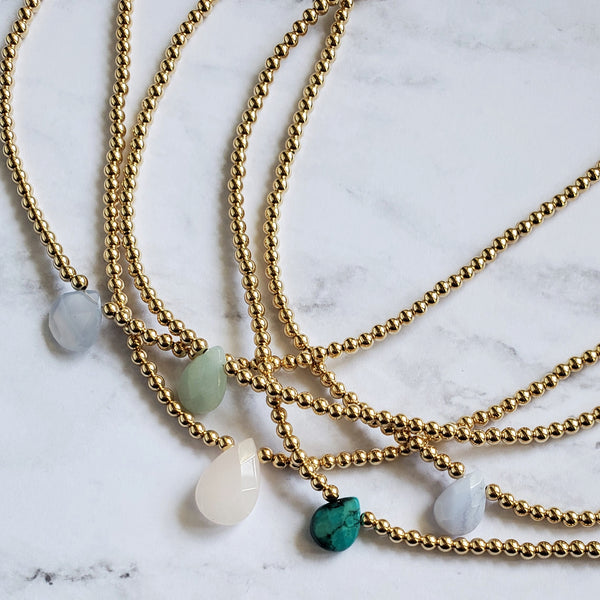 Gemstone and Gold Bead Choker