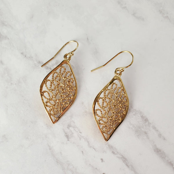 Filigree Leaf Hook Earrings