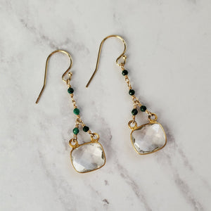 Gemstone Drop Hook Earrings